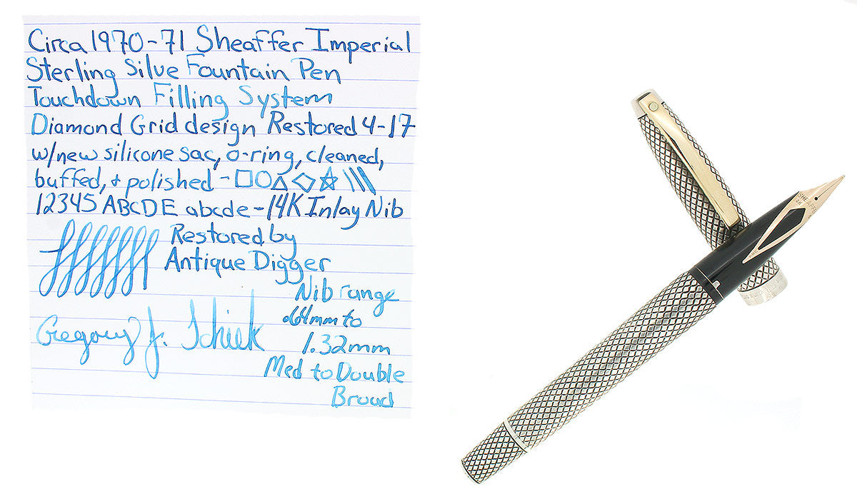 CIRCA 1970 SHEAFFER STERLING SILVER IMPERIAL TOUCHDOWN FOUNTAIN PEN RESTORED OFFERED BY ANTIQUE DIGGER