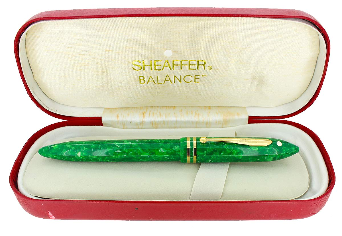 SHEAFFER JADE BALANCE FOUNTAIN PEN NEW OLD STOCK MINT IN BOX 18K STUB FLEX NIB OFFERED BY ANTIQUE DIGGER