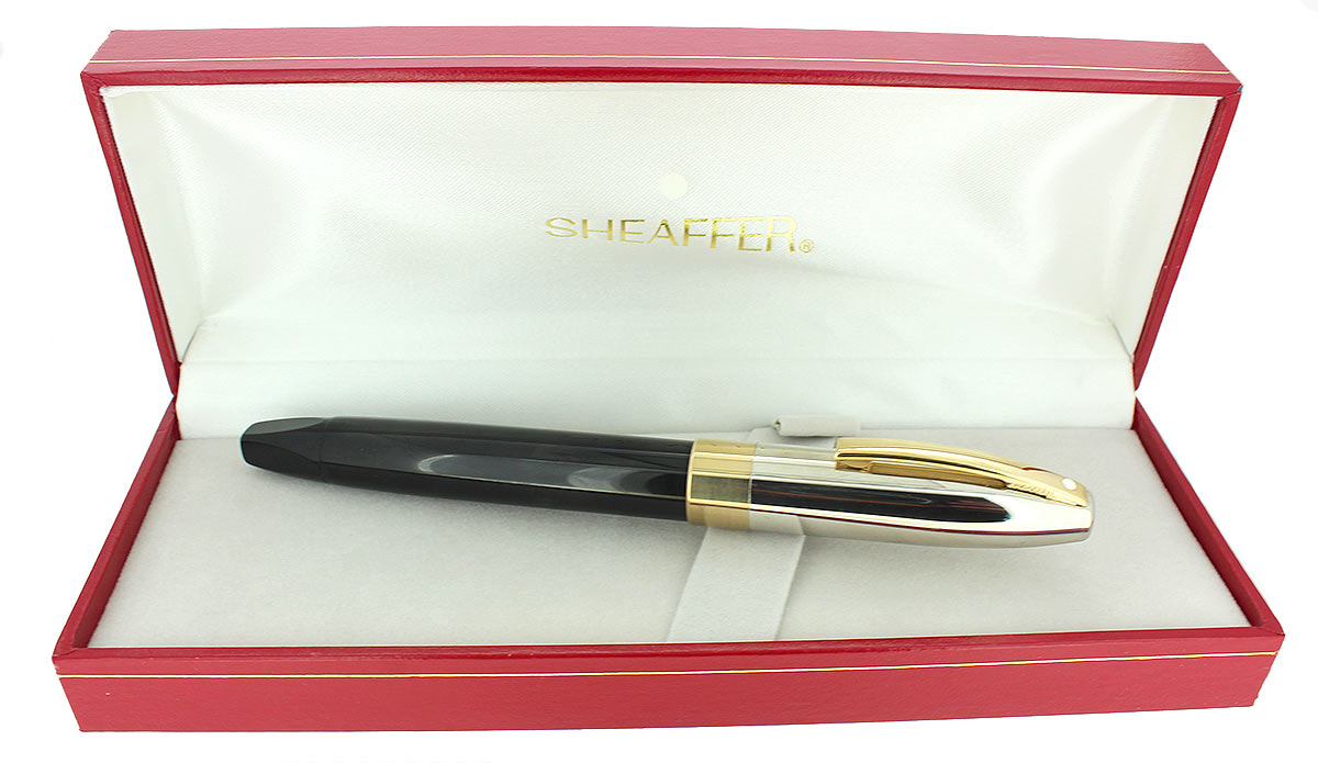 CIRCA 1995 SHEAFFER LEGACY FOUNTAIN PEN 18K BROAD NIB PALLADIUM CAP IN BOX OFFERED BY ANTIQUE DIGGER