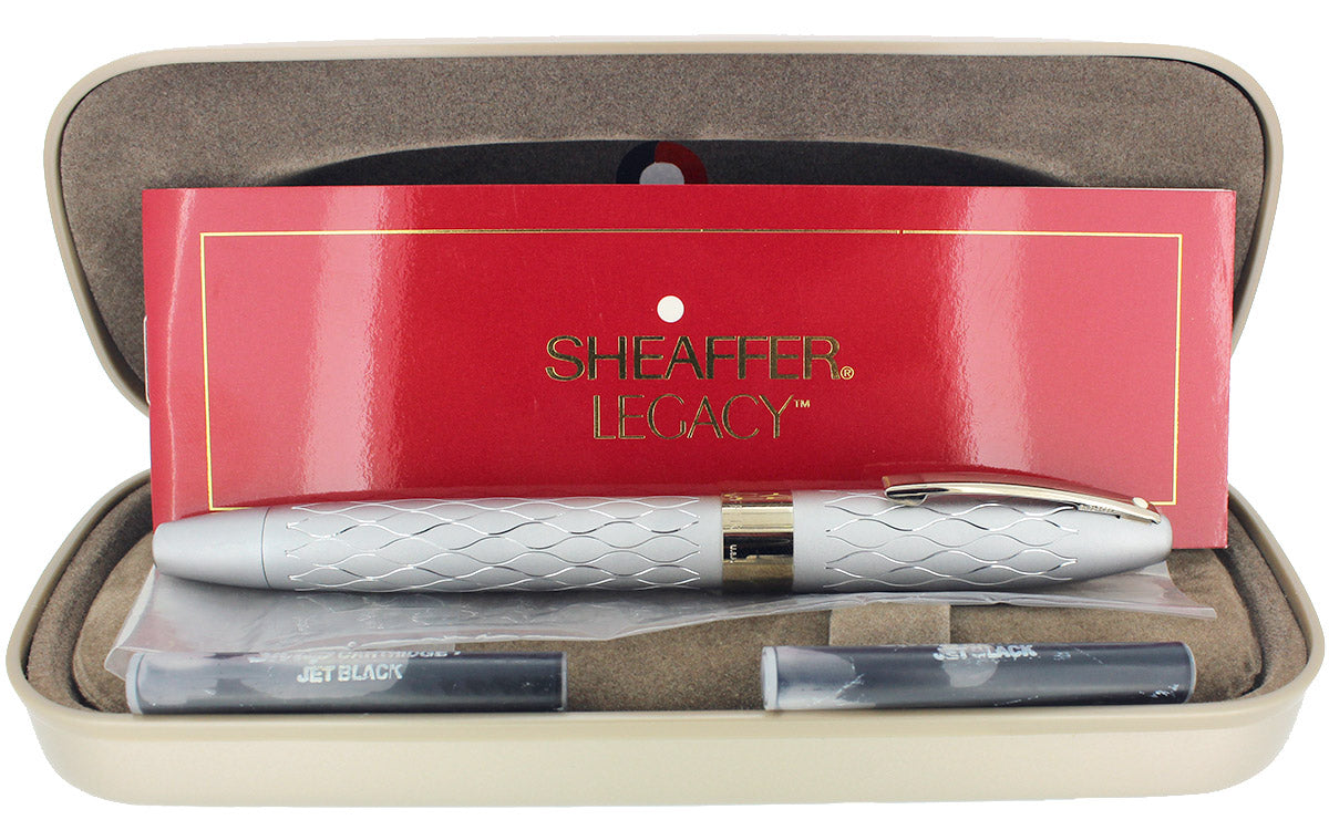 SHEAFFER LEGACY HERITAGE EMPEROR'S SILVER FOUNTAIN PEN 18K NIB NEVER INKED OFFERED BY ANTIQUE DIGGER