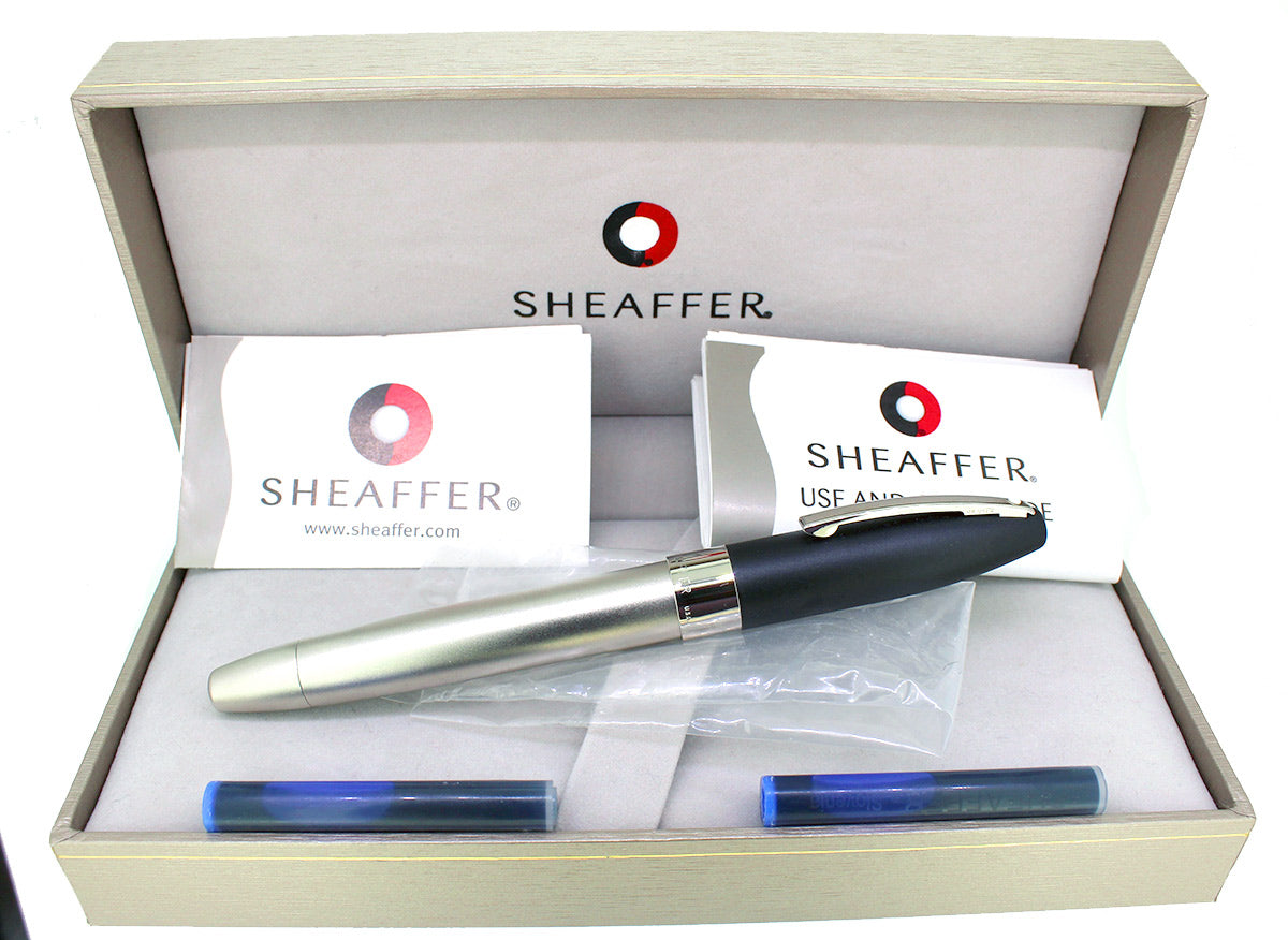 SHEAFFER LEGACY 2 SANDBLASTED PLATINUM & MATTE BLACK FOUNTAIN PEN NEVER INKED NEW OLD STOCK OFFERED BY ANTIQUE DIGGER