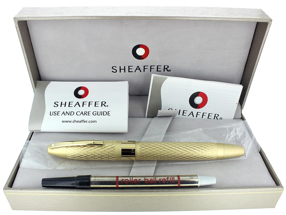 SHEAFFER LEGACY 2 KING'S GOLD DIAMOND PATTERN W/ 23K GOLD TRIM ROLLERBALL PEN UNUSED OFFERED BY ANTIQUE DIGGER