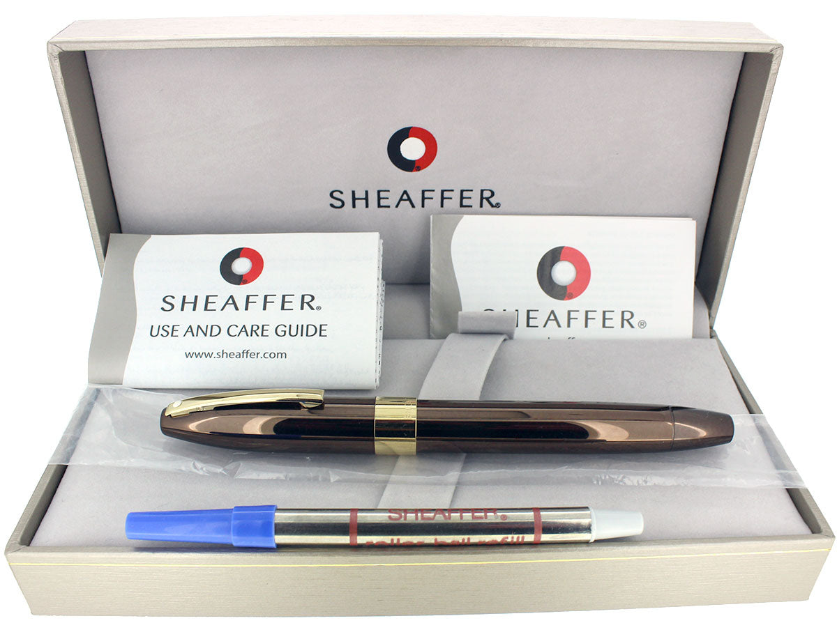 SHEAFFER LEGACY 2 POLISHED COPPER W/ 23K GOLD TRIM ROLLERBALL PEN NOS UNUSED OFFERED BY ANTIQUE DIGGER