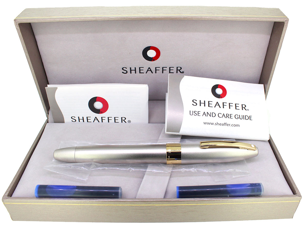 SHEAFFER LEGACY 2 SANDBLASTED PLATINUM FOUNTAIN PEN 18K MED NIB NEVER INKED NOS OFFERED BY ANTIQUE DIGGER