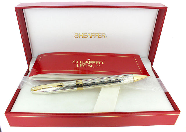 C1997 SHEAFFER LEGACY STERLING PENCIL BARLEYCORN PATTERN NEVER USED MINT IN BOX OFFERED BY ANTIQUE DIGGER