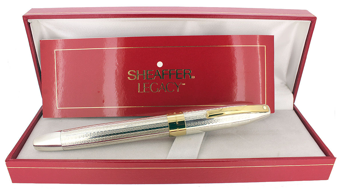 CIRCA 1997 SHEAFFER LEGACY STERLING FOUNTAIN PEN BARLEYCORN 18K MEDIUM NIB NEW IN BOX OFFERED BY ANTIQUE DIGGER