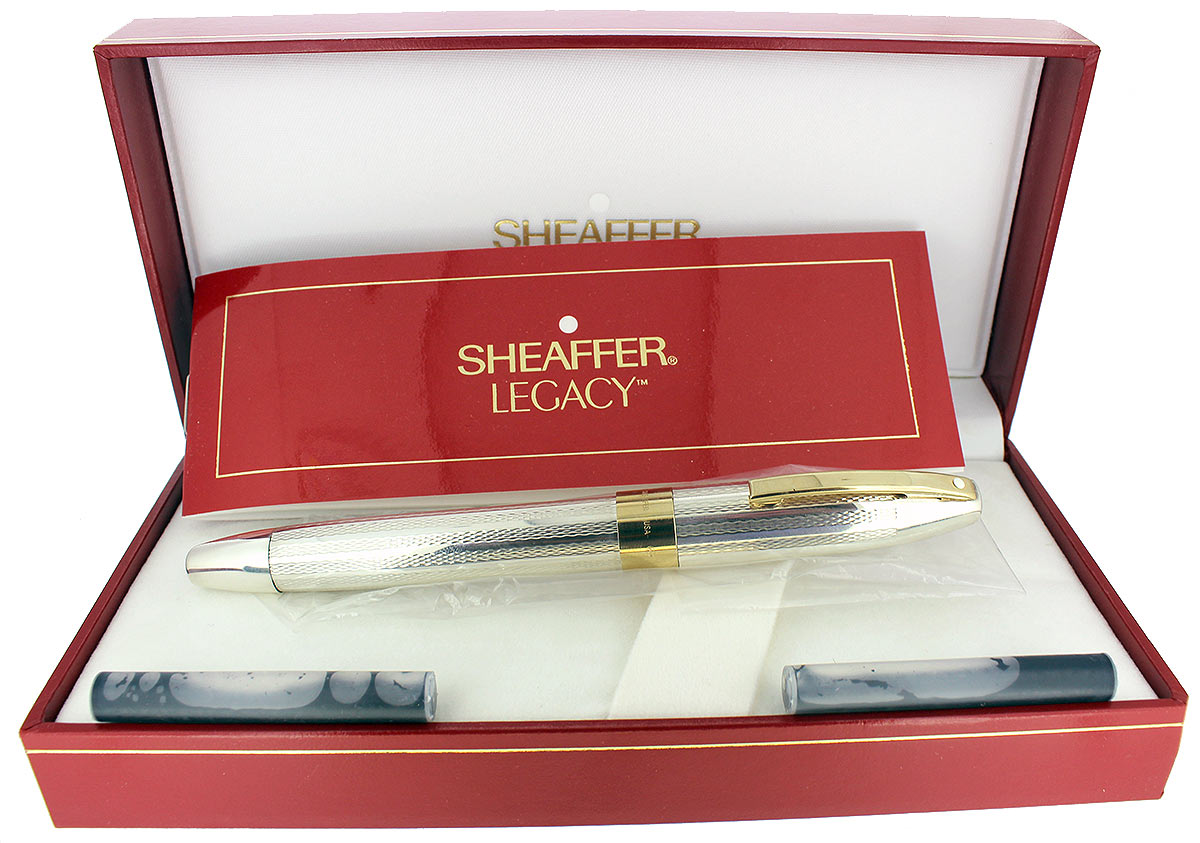 CIRCA 1997 SHEAFFER LEGACY STERLING FOUNTAIN PEN BARLEYCORN 18K STUB NIB NEVER INKED OFFERED BY ANTIQUE DIGGER