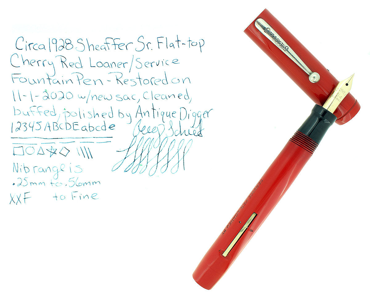 C1928 SHEAFFER SENIOR FLATTOP CHERRY RED SERVICE LOANER FOUNTAIN PEN RESTORED OFFERED BY ANTIQUE DIGGER