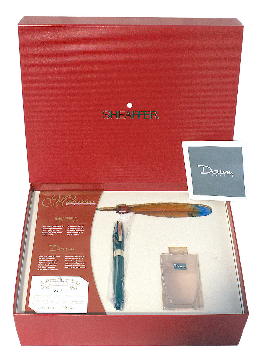 SHEAFFER LEGACY 2 MASTERPIECE GIFT SET LIMITED EDITION 641/1000 DAUM CRYSTAL INKWELL NOS MINT OFFERED BY ANTIQUE DIGGER