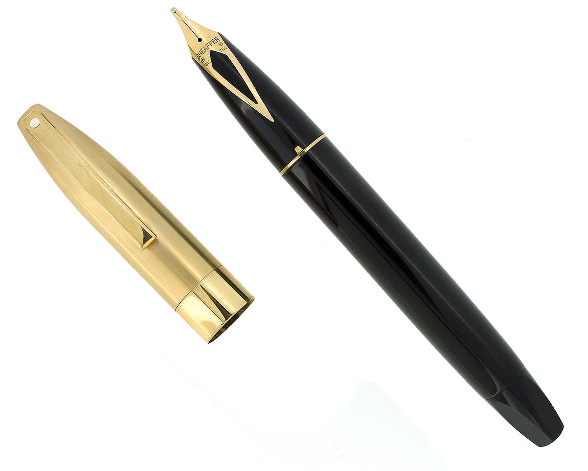 C1995 SHEAFFER LEGACY BLACK LAQUE GOLD PLATE FOUNTAIN PEN 18K STUB NIB W/ BOX OFFERED BY ANTIQUE DIGGER