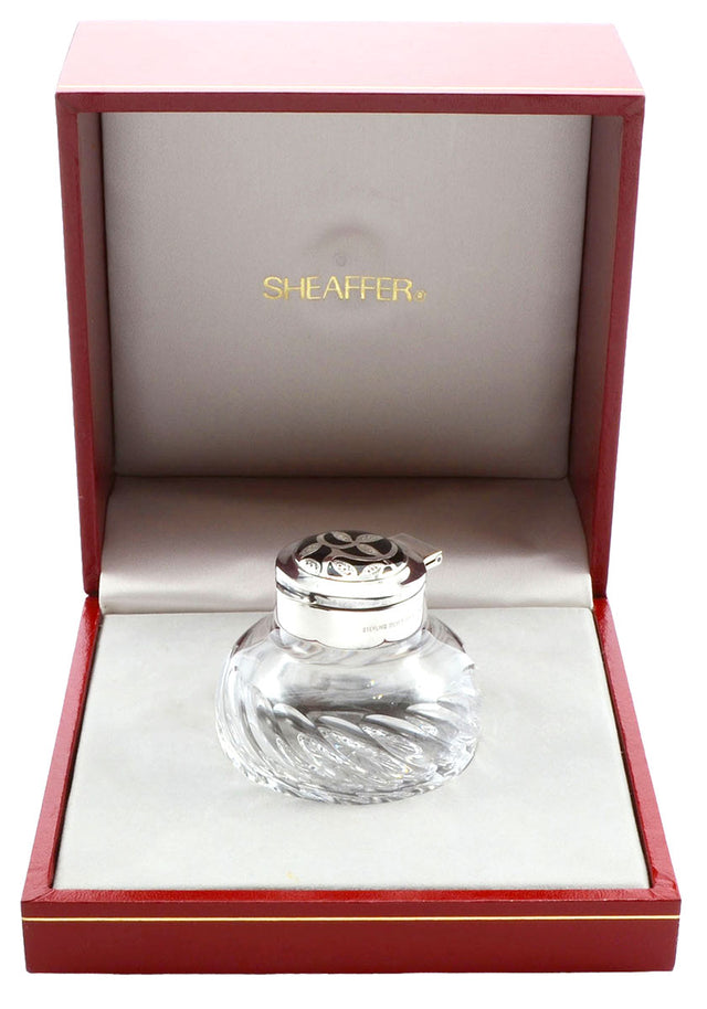 C1992 SHEAFFER NOSTALGIA STERLING SILVER & LEADED CRYSTAL INK BOTTLE NEW IN BOX OFFERED BY ANTIQUE DIGGER