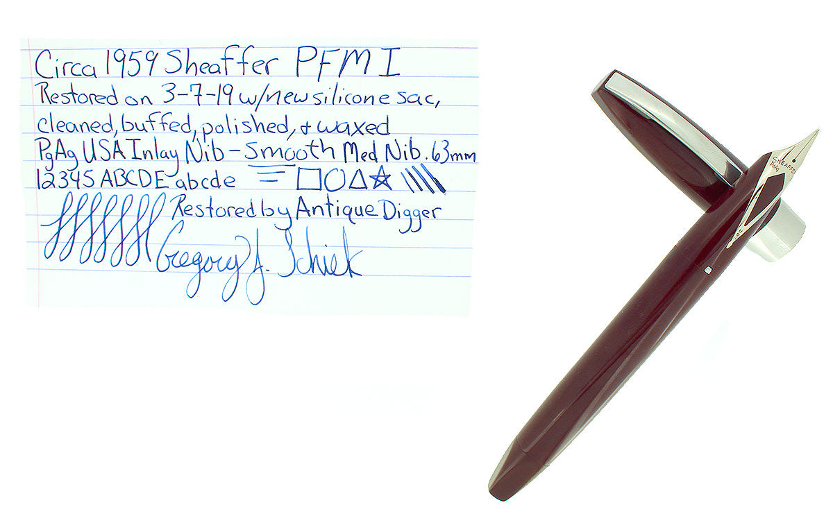 CIRCA 1959 SHEAFFER BURGUNDY PFM I PEN FOR MEN FOUNTAIN PEN SMOOTH MED NIB RESTORED OFFERED BY ANTIQUE DIGGER