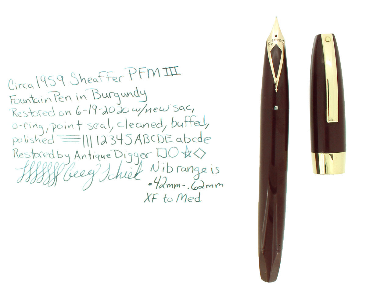 CIRCA 1959 SHEAFFER BURGUNDY PFM III SNORKEL FOUNTAIN PEN RESTORED OFFERED BY ANTIQUE DIGGER