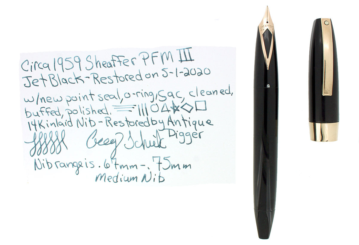 CIRCA 1959 SHEAFFER JET BLACK PFM III PEN FOR MEN FOUNTAIN PEN RESTORED OFFERED BY ANTIQUE DIGGER
