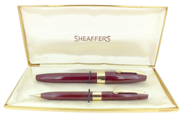 C1959 SHEAFFER BURGUNDY PFM III PEN FOR MEN FOUNTAIN PEN & PENCIL SET BOXED RESTORED OFFERED BY ANTIQUE DIGGER