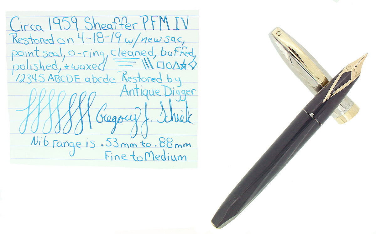CIRCA 1959 SHEAFFER GRAY PFM IV SNORKEL PEN FOR MEN FOUNTAIN PEN RESTORED OFFERED BY ANTIQUE DIGGER