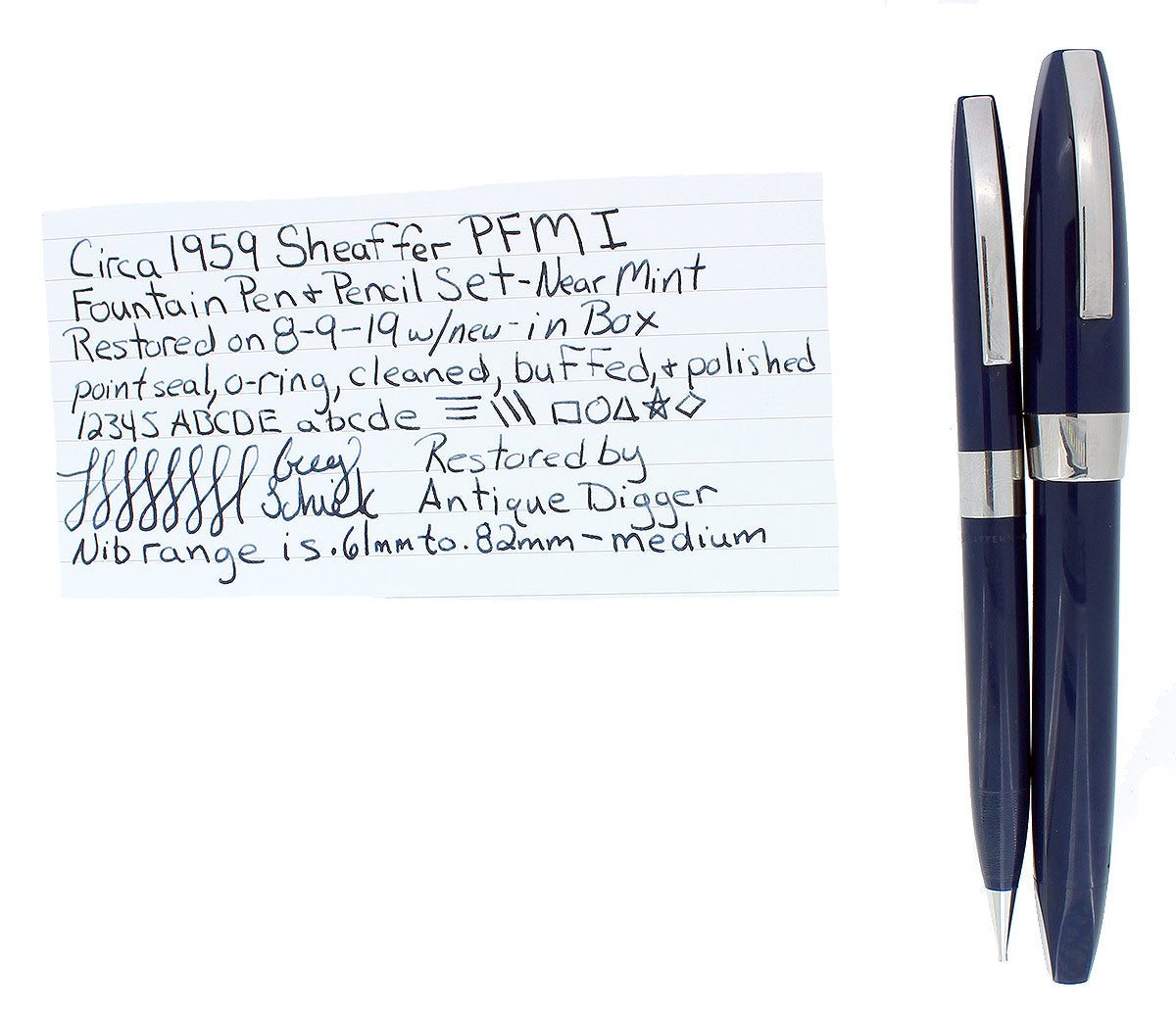 SHEAFFER BLUE PFM I FOUNTAIN PEN & PENCIL SET ORIGINAL BOX NEAR MINT COND OFFERED BY ANTIQUE DIGGER