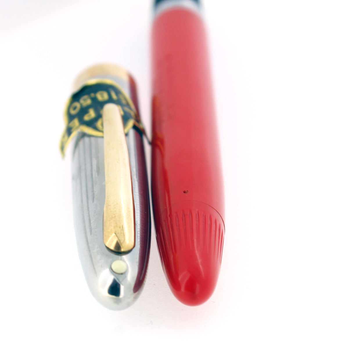 NEW OLD STOCK C1952 SHEAFFER CLIPPER FIESTA RED SNORKEL FOUNTAIN PEN MINT & STICKERED OFFERED BY ANTIQUE DIGGER