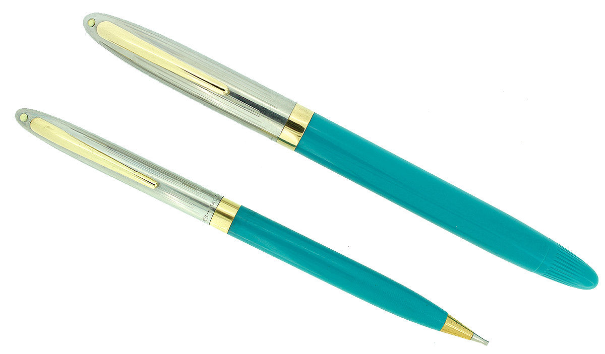 CIRCA 1953 SHEAFFER PEACOCK BLUE SENTINEL SNORKEL FOUNTAIN PEN AND PENCIL SET RESTORED OFFERED BY ANTIQUE DIGGER
