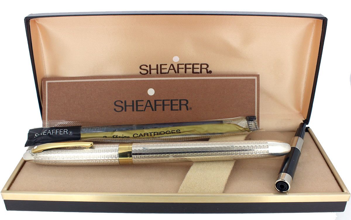 CIRCA 1993 SHEAFFER CREST REISSUE STERLING SILVER UNENGRAVED BARLEYCORN 18K NIB OFFERED BY ANTIQUE DIGGER