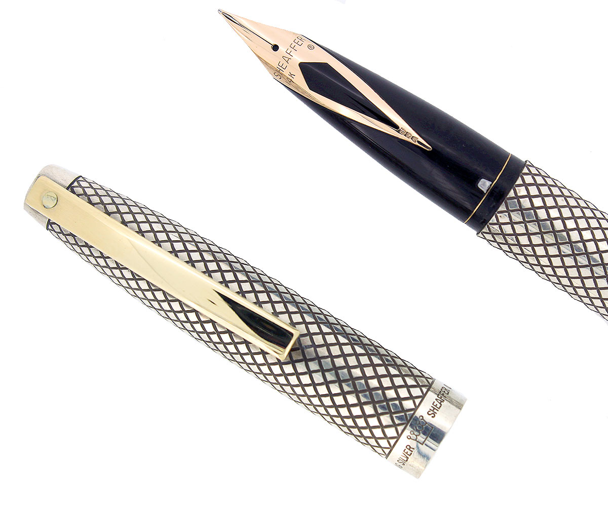 CIRCA 1970-71 SHEAFFER STERLING SILVER IMPERIAL TOUCHDOWN FILLER FOUNTAIN PEN DIAMOND GRID DESIGN RESTORED OFFERED BY ANTIQUE DIGGER