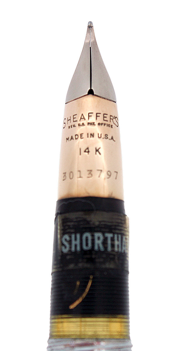 C1951 SHEAFFER SENTINEL DELUXE TOUCHDOWN GREGG SHORTHAND NIB FOUNTAIN PEN NEW OLD STOCK MINT OFFERED BY ANTIQUE DIGGER
