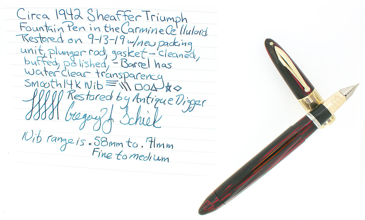 CIRCA 1942 SHEAFFER TRIUMPH CARMINE LIFETIME FOUNTAIN PEN PLUNGER FILL RESTORED OFFERED BY ANTIQUE DIGGER