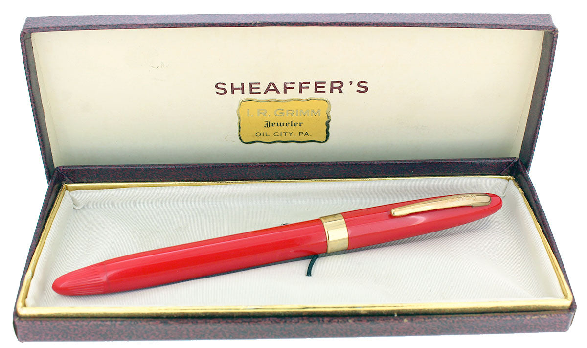 SCARCE CIRCA 1952-59 SHEAFFER VERMILLION SNORKEL FINE NIB FOUNTAIN PEN RESTORED OFFERED BY ANTIQUE DIGGER