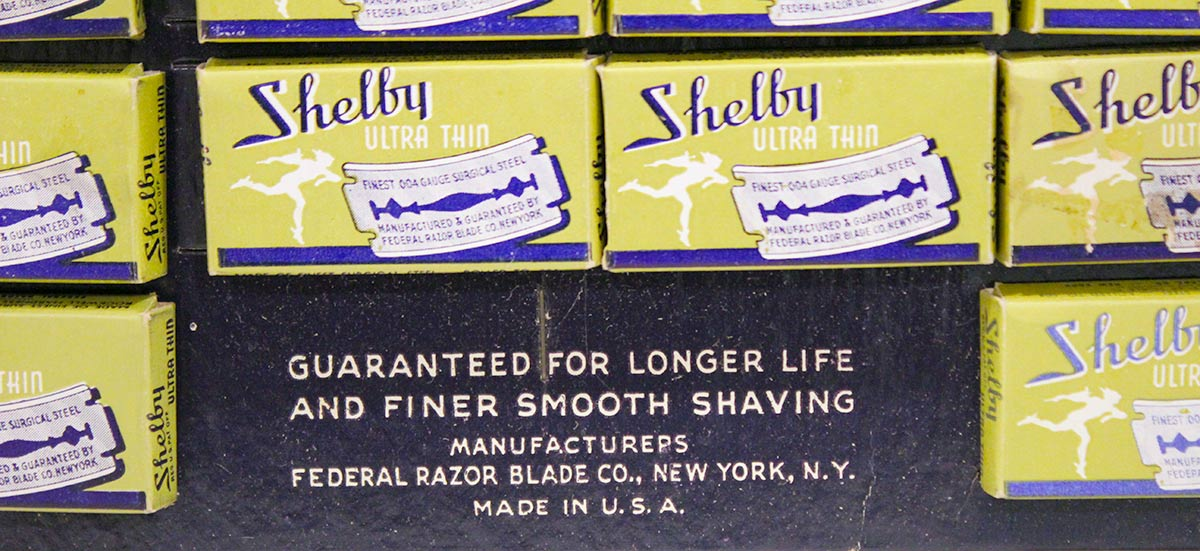 1930s ART DECO SHELBY RAZOR BLADE STORE COUNTERTOP ADVERTISING DISPLAY MINT NOS OFFERED BY ANTIQUE DIGGER