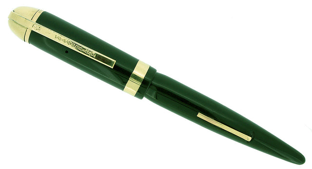 CIRCA 1943 EVERSHARP SKYLINE DARK GREEN FOUNTAIN PEN DEMI SIZE RESTORED OFFERED BY ANTIQUE DIGGER