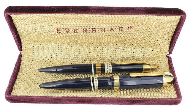 CIRCA 1943 EVERSHARP SKYLINE NAVY FOUNTAIN PEN SET NOS MINT IN BOX STICKERED OFFERED BY ANTIQUE DIGGER