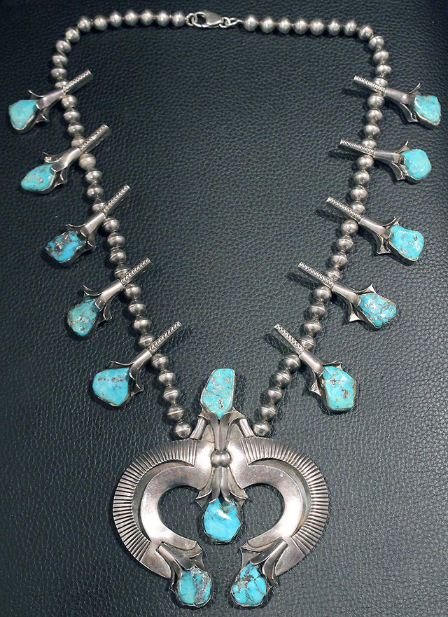 CIRCA 1940s OLD PAWN STERLING SILVER TURQUOISE SQUASH BLOSSOM NECKLACE OFFERED BY ANTIQUE DIGGER