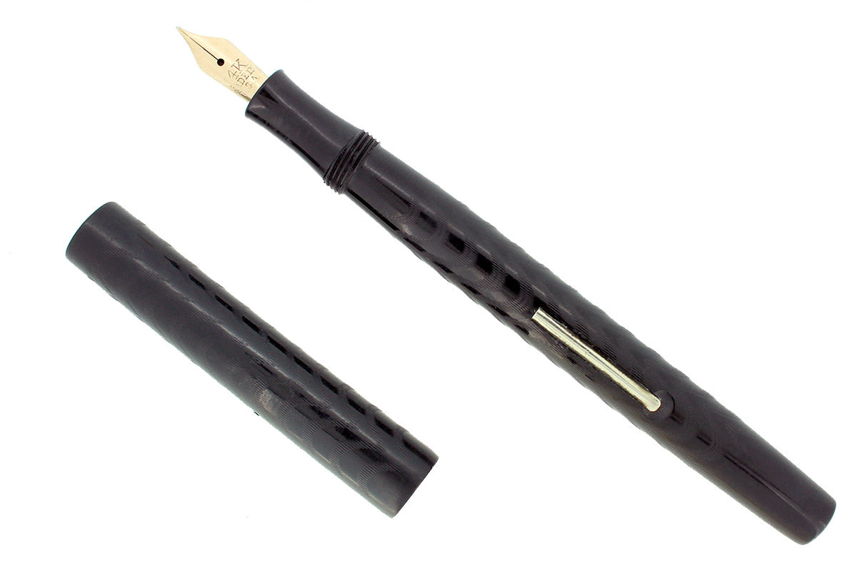 1920S STAR PEN CO CINCINNATI OHIO MAKER BLACK HARD RUBBER FOUNTAIN PEN RESTORED OFFERED BY ANTIQUE DIGGER