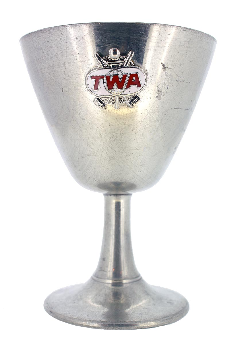 VINTAGE TWA TRANS WORLD AIRLINES SET OF 4 GOBLETS CORDIALS