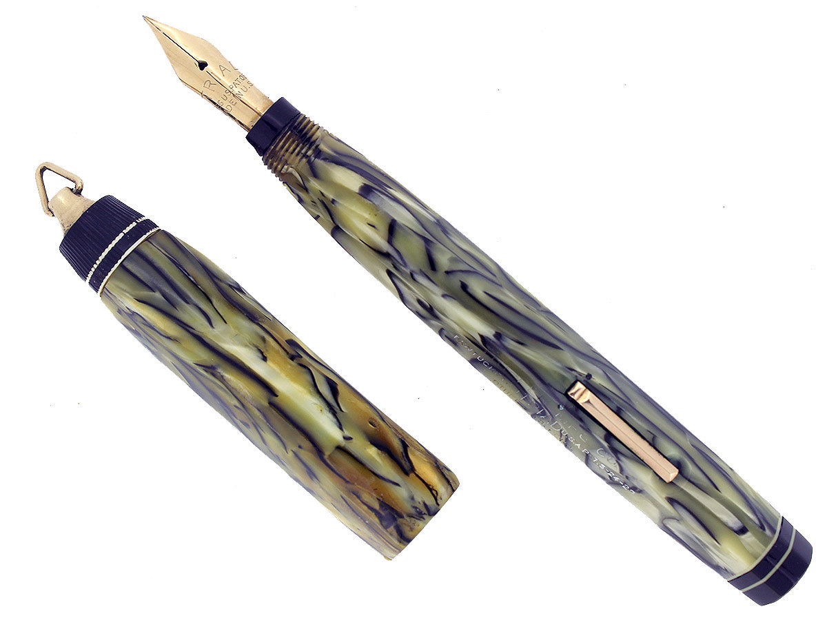CIRCA 1930 TRIAD TRI-PEN MFG CO BLACK AND PEARL CELLULOID FOUNTAIN PEN VERY RARE OFFERED BY ANTIQUE DIGGER