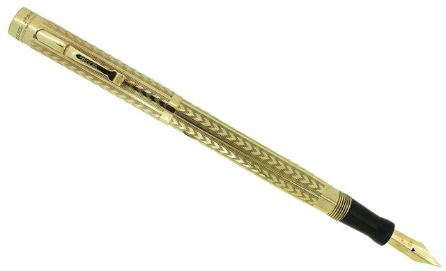 CIRCA 1924 WAHL GOLD FILLED CHEVRON PATTERN FOUNTAIN PEN F-BBB+ FLEX NIB RESTORED OFFERED BY ANTIQUE DIGGER