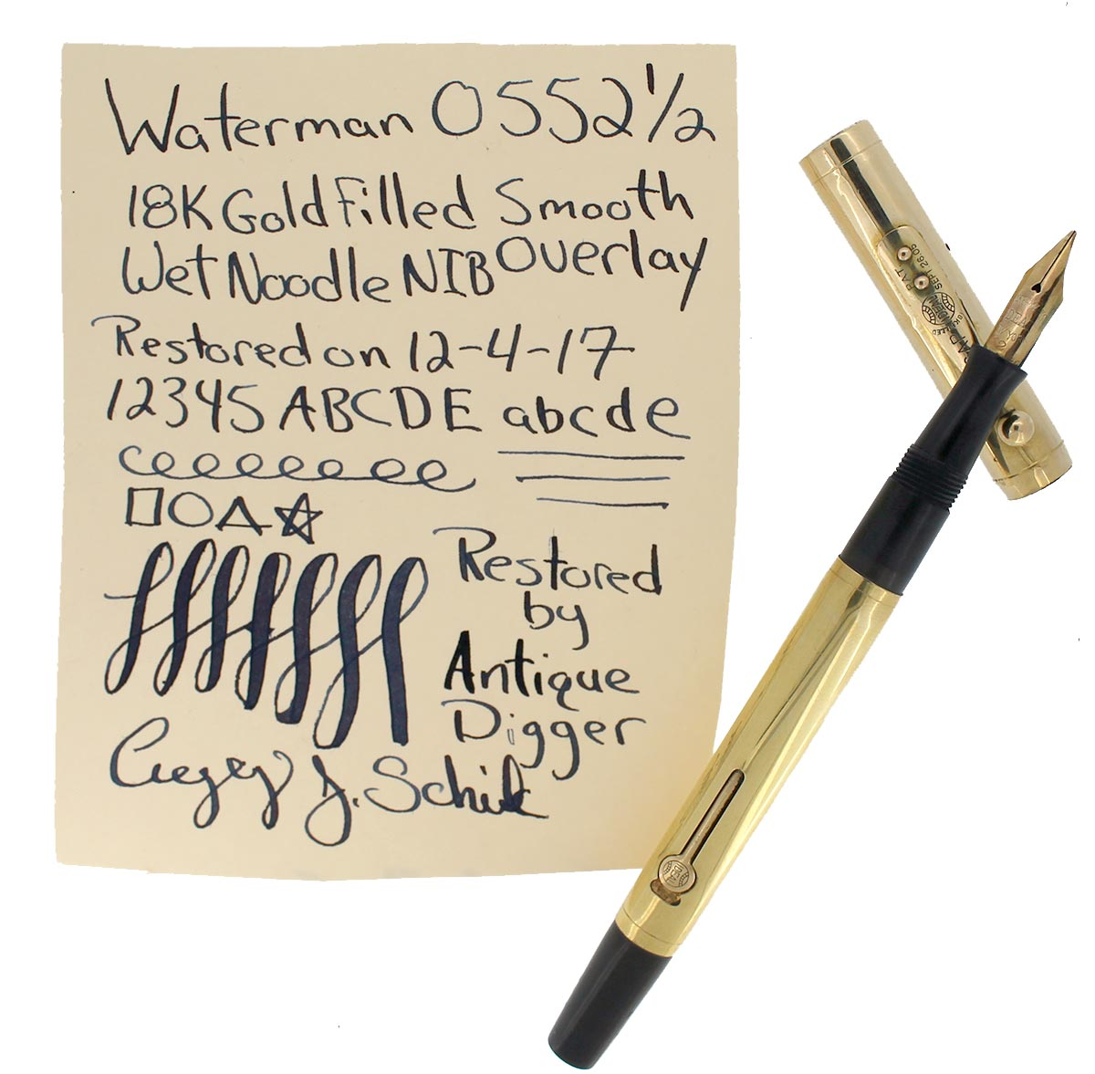 1920s WATERMAN 0552 1/2 SMOOTH GOLD OVERLAY FOUNTAIN PEN XXF - BBB 2.6MM FLEX NIB RESTORED OFFERED BY ANTIQUE DIGGER