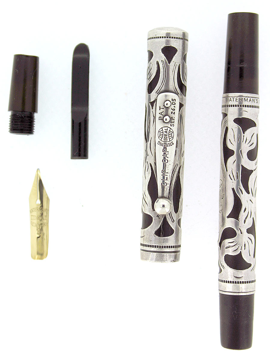 WATERMAN 12 1/2 STERLING OVERLAY EYEDROPPER FOUNTAIN PEN F to BBB FLEX RESTORED OFFERED BY ANTIQUE DIGGER