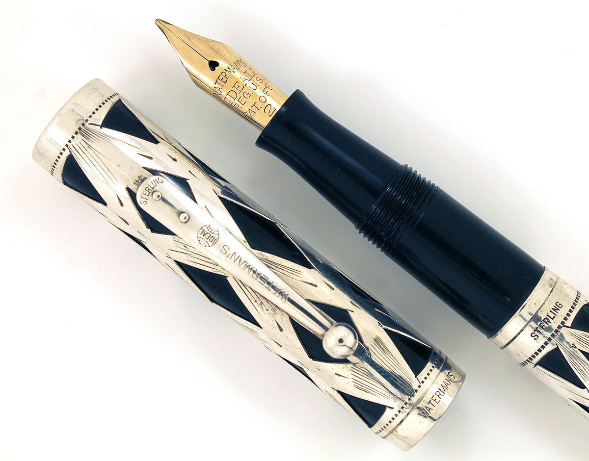 1920s WATERMAN 452 STERLING OVERLAY FOUNTAIN PEN FLEX NIB RESTORED OFFERED BY ANTIQUE DIGGER