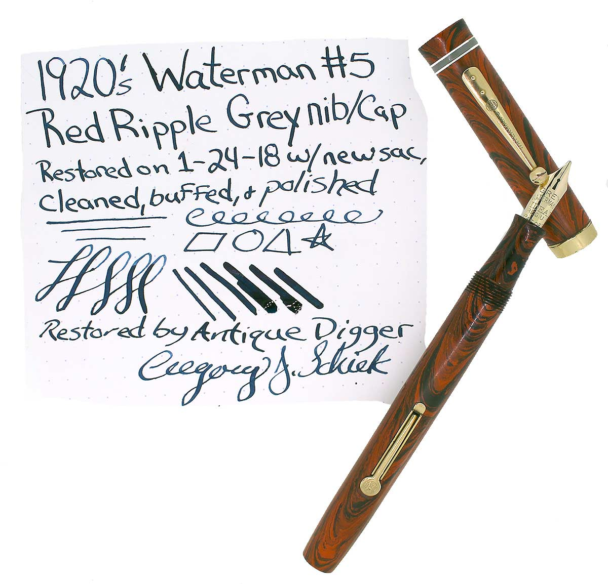 1920S WATERMAN #5 RED RIPPLE GREY CAP BAND & KEYHOLE NIB FOUNTAIN PEN RESTORED OFFERED BY ANTIQUE DIGGER