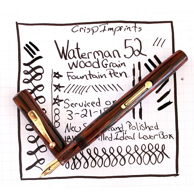 WATERMAN 52 WOOD GRAIN FOUNTAIN PEN