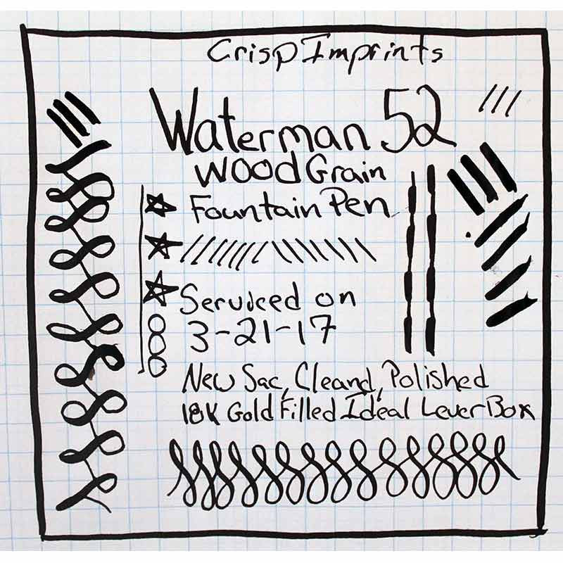 WATERMAN 52 WOOD GRAIN FOUNTAIN PEN WRITING SAMPLE