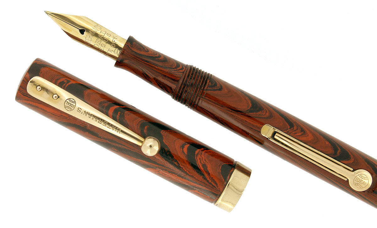 RESTORED 1920s WATERMAN 52 1/2V RED RIPPLE FOUNTAIN PEN F to BBB FLEX NIB OFFERED BY ANTIQUE DIGGER