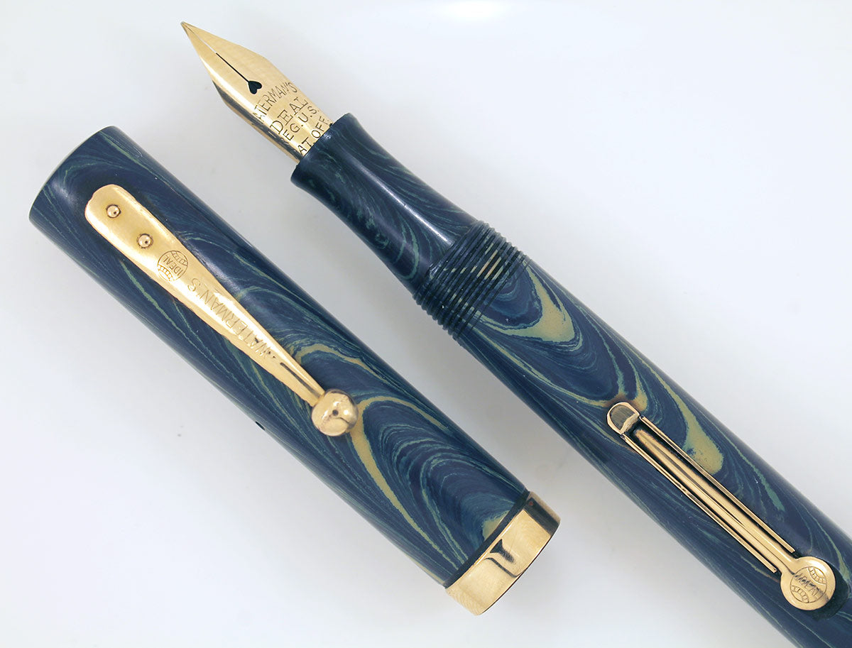 1920s WATERMAN 52V BLUE RIPPLE FOUNTAIN PEN WITH XF to BBB FLEXIBLE NIB IN RESTORED CONDITION OFFERED BY ANTIQUE DIGGER