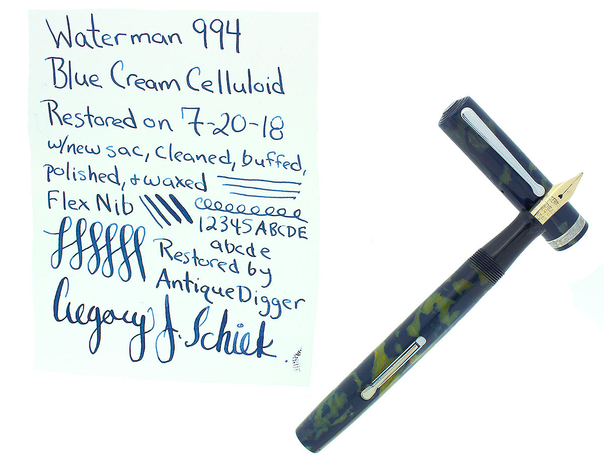 WATERMAN 94 BLUE & CREAM CELLULOID FOUNTAIN PEN F-BB+ FLEX #4 NIB RESTORED OFFERED BY ANTIQUE DIGGER