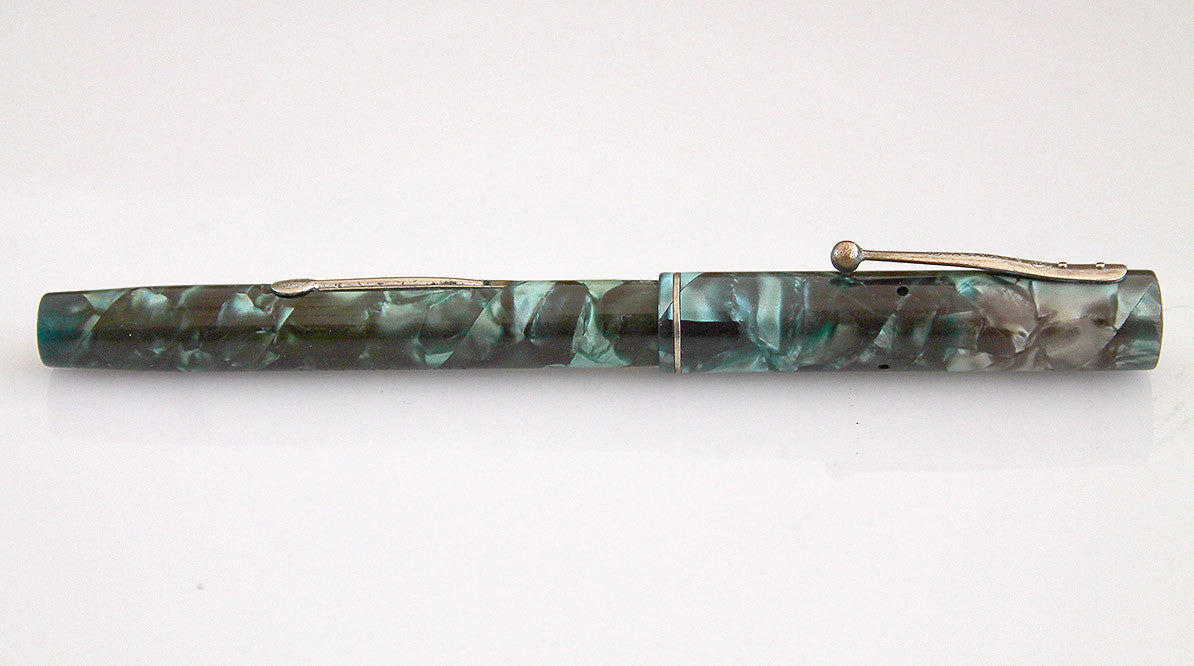 RESTORED WATERMAN'S 32 1/2 FOUNTAIN PEN IN BLUE-GREEN QUARTZ WITH F to BBB FLEXIBLE NIB MADE IN CANADA