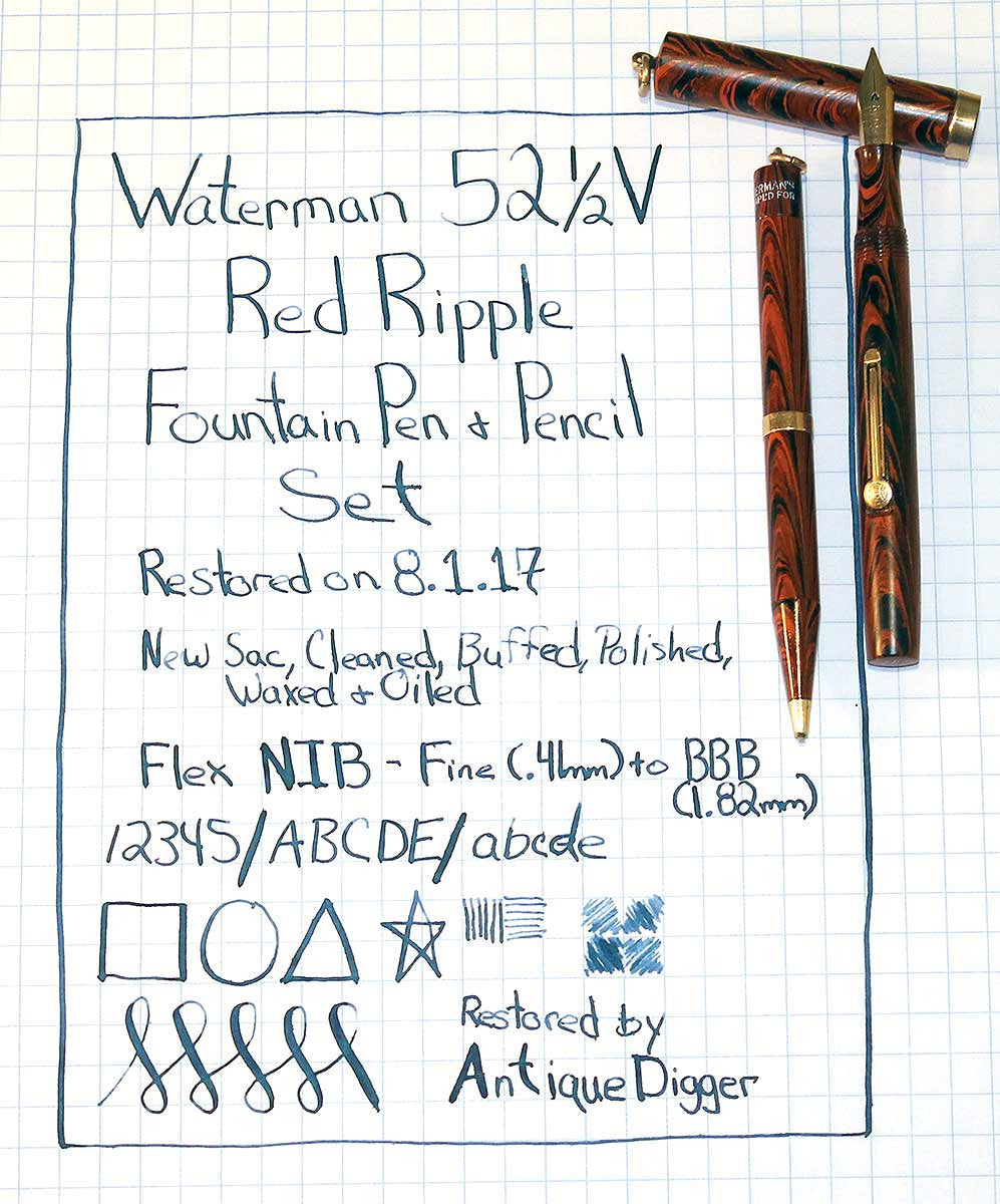 WATERMAN 52 1/2V RED RIPPLE FOUNTAIN PEN & PENCIL F to BBB FLEX NIB RESTORED OFFERED BY ANTIQUE DIGGER