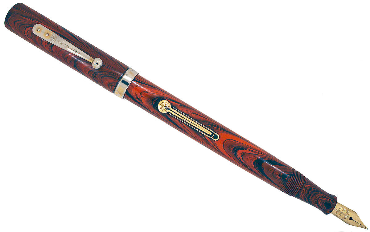 1920s WATERMAN 52 RED RIPPLE FOUNTAIN PEN WITH F to BBB FLEXIBLE NIB RESTORED OFFERED BY ANTIQUE DIGGER