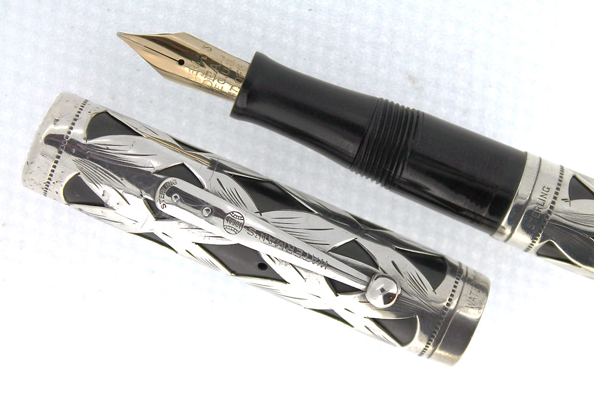1920S WATERMAN 452 STERLING OVERLAY FOUNTAIN PEN F to BBB+ FLEX NIB RESTORED
