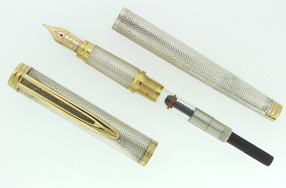 WATERMAN GENTLEMAN STERLING SILVER BARLEYCORN FOUNTAIN PEN 18K M NIB RESTORED OFFERED BY ANTIQUE DIGGER